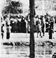 Chinese women begging Japanese soldiers for their men, Nanking Massacre.jpg