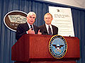 Christopher Dodd and Jim Jeffords speaking at the Pentagon, May 2000.jpg