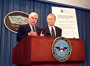 Jeffords (right) with fellow senator Christopher Dodd at the Pentagon speaking on defense issues, May 2000.
