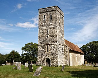 Monkton, Kent - The parish church of St Mary Magdalene. The top stage of the tower was added in the 15th century