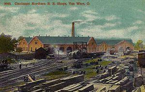 Cincinnati Northern Railroad (1894–1938) - The railroad's shops in Van Wert, Ohio, circa 1914.