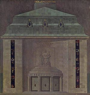Ufa-Pavillon am Nollendorfplatz - The façade of the Nollendorf-Theater cinema. 1913 drawing by August Unger, who also designed the internal décor and the curtain in the auditorium.