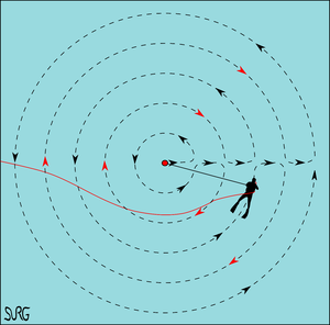 Underwater searches - Circular search pattern modified to avoid twisting or fouling an umbilical or lifeline