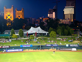 Sports in Sacramento, California - View of the city skyline from Raley Field