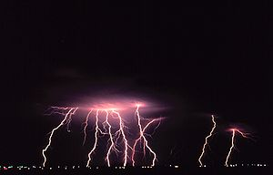 Norman, Oklahoma - Lightning strikes Norman during a nighttime thunderstorm