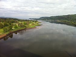 A view of the Clyde from the Erskine Bridge, which crosses it.