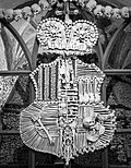 Coat of arms of the House of Schwarzenberg in Sedlec Ossuary - black and white.jpg