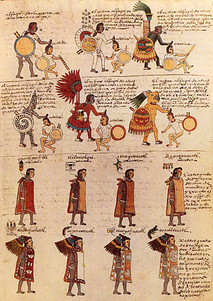 Aztec clothing - Aztec warriors and priests as depicted in the Codex Mendoza, wearing battle suits and tilmahtli tunics.