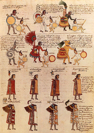 Tilmàtli - Aztec warrior priests and priests as depicted in the Codex Mendoza, wearing battle suits and tilmàtli tunics.