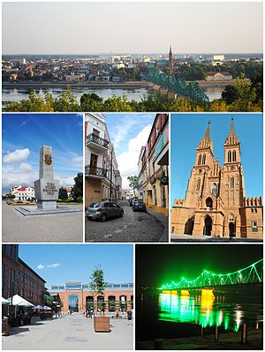 Włocławek - Collage of views of Włocławek. Top: View of Old Town, Middle of left: The monument on the Liberty Square, Center: Przechodnia Street, Middle of right: Cathedral, Bottom left: Shopping center Wzorcownia in faiance factory, Bottom right: The Bridge of Marschall Edward Rydz-Śmigły