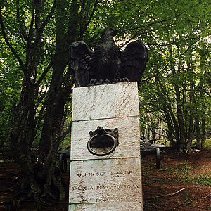 Apennine Mountains - Source of the Tiber. Marked by a Column decorated with an Eagle and Wolf heads – Part of the Apennine fauna and symbols of Rome