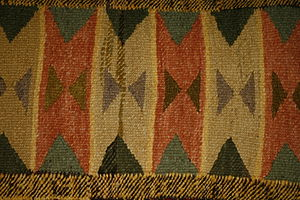 Salish weaving - An example of a multicoloured blanket in the collection from the Simon Fraser University Museum of Archaeology and Ethnology