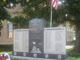 Columbia County, Arkansas - Columbia County Veterans Memorial on courthouse lawn in Magnolia