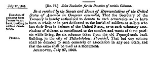 Civil War Memorial (Adrian, Michigan) - Congressional resolution donating column for use in a memorial