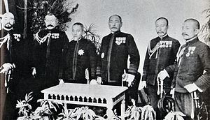 Kamimura Hikonojō - Left to right Funakoshi, Shimamura, Togo, Kamimura, Katō, Akiyama