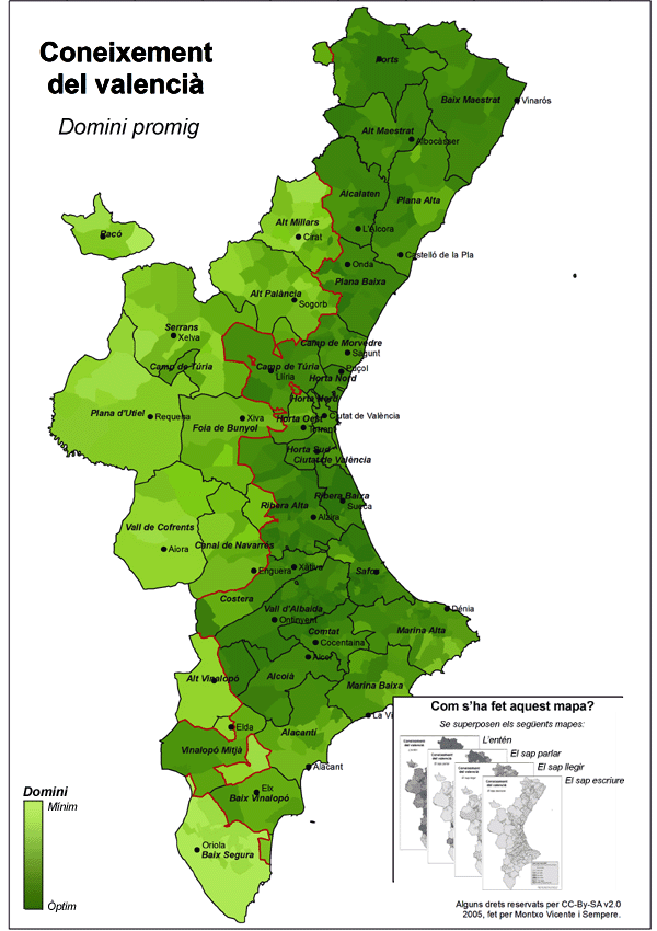 Coneixement del valencià (domini promig)-Cens del 2001