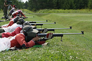 Connaught National Army Cadet Summer Training Centre - Cadets on the Fullbore Marksman Phase II Course on Alpha Range at Connaught Range and Primary Training Centre (CRPTC), in Ottawa, Ontario