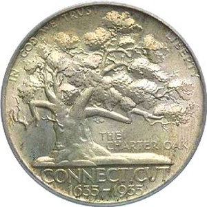 Connecticut Tercentenary half dollar - Image: Connecticut tercentenary half dollar commemorative obverse