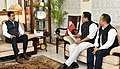 Conrad Sangma along with the Sports Minister of Meghalaya, Shri Banteidor Lyngdoh meeting the Minister of State for Youth Affairs and Sports (IC) and Information & Broadcasting, Col. Rajyavardhan Singh Rathore, in New Delhi.JPG