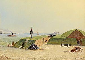 Conrad Wise Chapman - Image: Conrad Wise Chapman Battery Laurens Street Charleston, Feb. 7, 1864