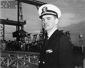 Creed Burlingame - LCDR Burlingame at the ''Silversides''' commissioning ceremony at Mare Island, 15 December 1941.