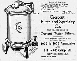 New Orleans, 1907: Advertisement for water fil...