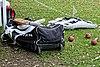 Cricket kit bag at Abridge Cricket Club, Essex, England.jpg
