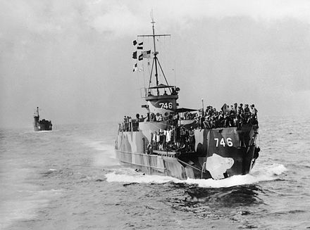 US Navy Landing Craft Infantry crowded with Australian soldiers prior to the landing at Labuan Crowded US Navy LCIs approaching Labuan on 10 June 1945.jpg