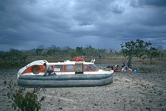 Essequibo River - CushionCraft CC7 hovercraft in North Savannas of Guyana during filming of The World About Us: The Forbidden Route