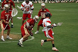 Maryland Terrapins men's lacrosse - Maryland (white jerseys) in action against Denver in 2006.