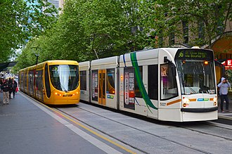 Bourke Street, Melbourne - Route 96 trams on Bourke Street