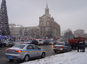 Militsiya (Ukraine) - Officers and a patrol car of the DAI, the Militsiya's traffic corps, at work in central Kiev.