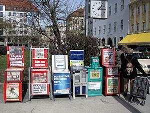 Vending machine - Newspaper vending machines in Munich, Germany