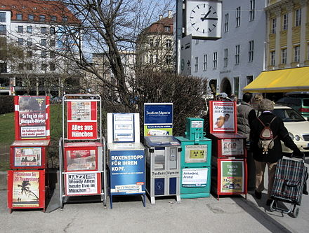 Newspaper vending machines in Munich, Germany DEU Zeitungsautomaten Muenchen 3712 MSZ100320.jpg