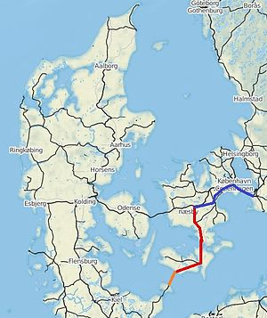 High-speed rail in Europe - The planned high-speed rail lines in Denmark. The Fehmarn Belt Fixed Link (orange), Ringsted-Fehmarn (red), Copenhagen-Ringsted and the Oresund bridge (blue). All planned for at least 200 km/h