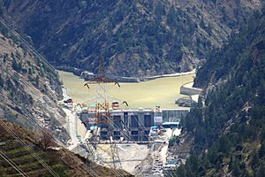 Karcham Wangtoo Hydroelectric Plant - Image: Damsite of Karcham Wangtoo Project at Karcham, Kinnaur