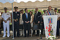 Daniel Mansanti, foreground right, mayor of Theoule-sur-Mer, speaks in honor of the 69th anniversary celebration of Allied troops landing in Provence during World War II at a celebration in the town square 130815-N-EZ054-082.jpg