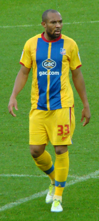 Away colours - Danny Gabbidon wearing a Crystal Palace away kit, 2012
