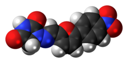 Space-filling model of the dantrolene molecule