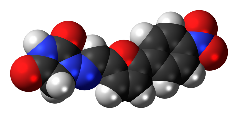 Space-filling model of the dantrolene molecule