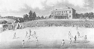 Sheffield Cricket Club - A cricket match at Darnall in the 1820s, a venue at which Sheffield often played.