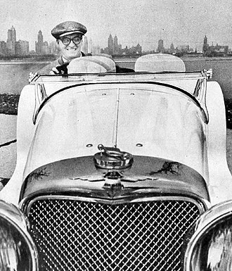 Dave Garroway - Garroway at the wheel of his favorite car, a 1938 SS Jaguar 100 which he restored