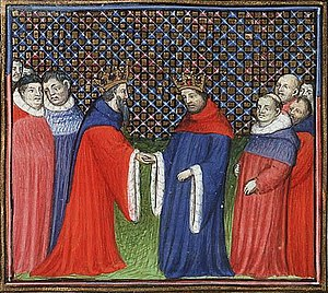 Commendation ceremony - David Bruce, King of Scotland, acknowledges Edward III of England as his feudal lord (1346), in a ms of Froissart's Chronicles, c.1410