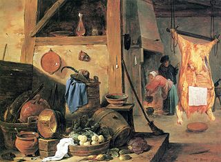 Kitchen interior with Still-life and Slaughtered Ox