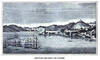 Mediterranean Squadron (United States) - Stephen Decatur's Mediterranean squadron off Algiers in 1815.