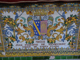 Juan Procopio Bassecourt - Coat of arms of Juan Procopio de Bassecourt (decorated tiles at the Capitania General de Barcelona)