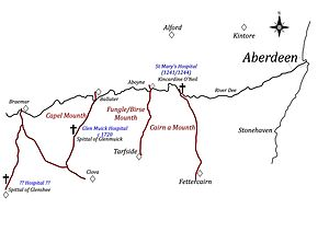 Hospitals in medieval Scotland - Selected Deeside drover roads - as far as the River Dee