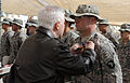 Defense.gov News Photo 101208-F-6655M-012 - Secretary of Defense Robert M. Gates pins the Purple Heart Medal on Pfc. Brandon J. Davis 2nd Battalion 502nd Infantry Regiment 101st Airborne.jpg