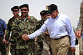 Defense.gov News Photo 110710-F-RG147-481 - Secretary of Defense Leon E. Panetta shakes hands with the commander of Afghanistan Garrison Support Unit 1-215 Embedded Training Team at Camp.jpg