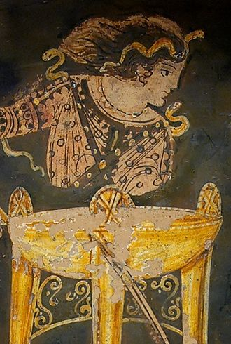 Pythia - Paestan red-figure bell-krater depicting the Delphic oracle sitting atop her tripod, circa 330 BC